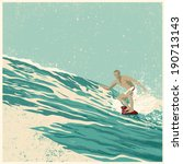 Surfer And Big Wave. Vector...