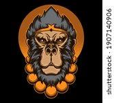 monkey king head vector  vector ... | Shutterstock .eps vector #1907140906
