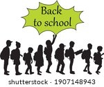 back to school. silhouette of a ... | Shutterstock .eps vector #1907148943