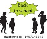 back to school. silhouette of a ... | Shutterstock .eps vector #1907148946