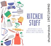 kitchen stuff banner background ...   Shutterstock .eps vector #1907154940