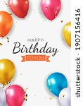 realistic 3d balloon background ... | Shutterstock .eps vector #1907156416