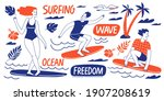 surfing lifestyle summer... | Shutterstock .eps vector #1907208619