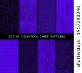 set of seamless cyber patterns. ... | Shutterstock .eps vector #1907293240
