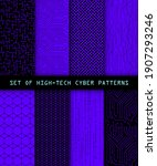 set of seamless cyber patterns. ... | Shutterstock .eps vector #1907293246