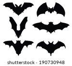 black silhouettes of bats ... | Shutterstock .eps vector #190730948