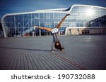 young carefree woman jumping at ... | Shutterstock . vector #190732088