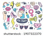 girl power concept in doodle... | Shutterstock .eps vector #1907322370