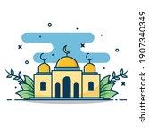 modern line art islamic mosque... | Shutterstock .eps vector #1907340349