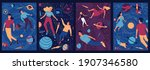 abstract cosmos posters. people ... | Shutterstock .eps vector #1907346580