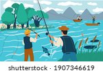 Fishing. People Fish With Rods...