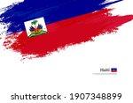 stylish brush flag of haiti.... | Shutterstock .eps vector #1907348899