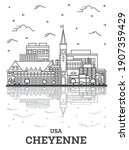 Outline Cheyenne Wyoming USA City Skyline with Modern Buildings and Reflections Isolated on White. Vector Illustration. Cheyenne USA Cityscape with Landmarks.