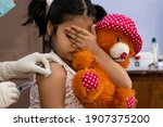 An Indian Girl Child With Teddy ...