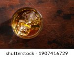 Scotch Whiskey Glass On Wooden...