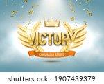 winner award. golden laurel... | Shutterstock .eps vector #1907439379