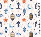 set of islamic background ... | Shutterstock .eps vector #1907454919