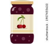 glass jar of preserved cherry... | Shutterstock .eps vector #1907455633