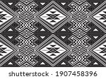 monochrome ethnic seamless... | Shutterstock .eps vector #1907458396