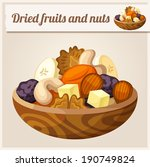 Detailed Icon. Dried fruits and nuts.