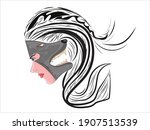 two faces girl and wolf on... | Shutterstock .eps vector #1907513539