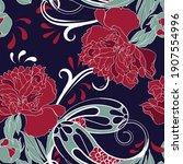 beautiful seamless paisley... | Shutterstock .eps vector #1907554996