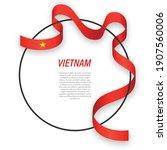 waving ribbon flag of vietnam... | Shutterstock .eps vector #1907560006