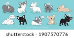 cute doodle french bulldog... | Shutterstock .eps vector #1907570776