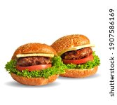 hamburger low poly. fresh ... | Shutterstock .eps vector #1907586169