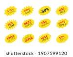 starburst sticker set for promo ... | Shutterstock .eps vector #1907599120