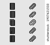 paper and paperclip icon set...   Shutterstock .eps vector #1907621533