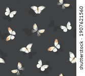 seamless pattern with flying... | Shutterstock . vector #1907621560