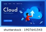 people fly around cloud sign.... | Shutterstock .eps vector #1907641543