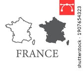 map of france line and glyph... | Shutterstock .eps vector #1907654323