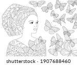 beautiful african woman looking ... | Shutterstock .eps vector #1907688460