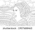 beautiful african woman looking ... | Shutterstock .eps vector #1907688463