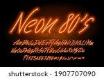 neon 80 s font. orange neon...   Shutterstock .eps vector #1907707090