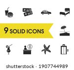 tourism icons set with fast...