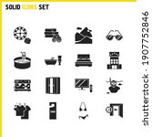 hotel icons set with dry...