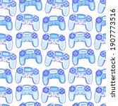 seamless pattern with joysticks....   Shutterstock .eps vector #1907773516