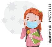 little girl wearing a... | Shutterstock .eps vector #1907775133