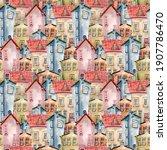 seamless watercolor pattern...   Shutterstock . vector #1907786470