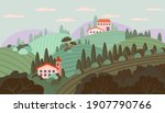 Cute Italian Landscape. Vector...