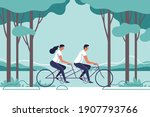 couple are riding on bicycle on ... | Shutterstock .eps vector #1907793766