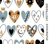 seamless pattern with various... | Shutterstock .eps vector #1907796460