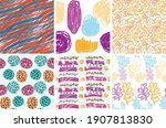 seamless pattern set with rough ... | Shutterstock .eps vector #1907813830