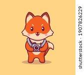 Cute Fox Holding Camera Cartoon ...
