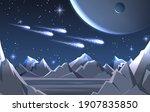 space planet surface landscape. ... | Shutterstock .eps vector #1907835850