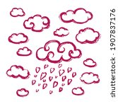 set of clouds and rain of... | Shutterstock .eps vector #1907837176