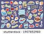 Food Cooking Stickers  Vector...